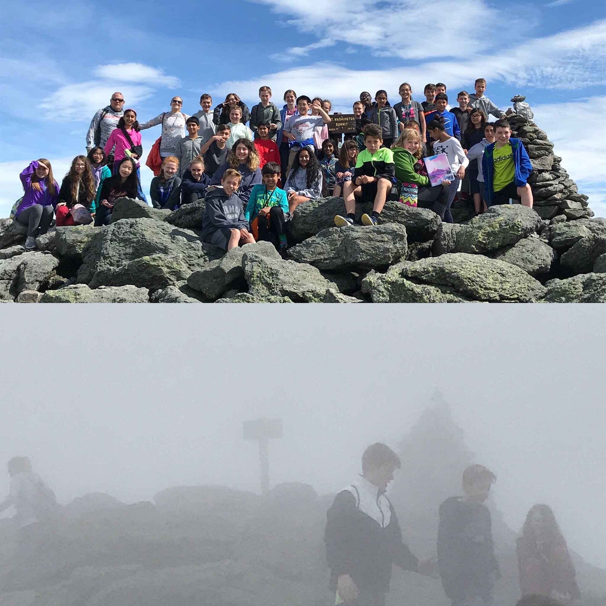 Two pictures of students on top of Mt Washington with only a 30 minute time difference.