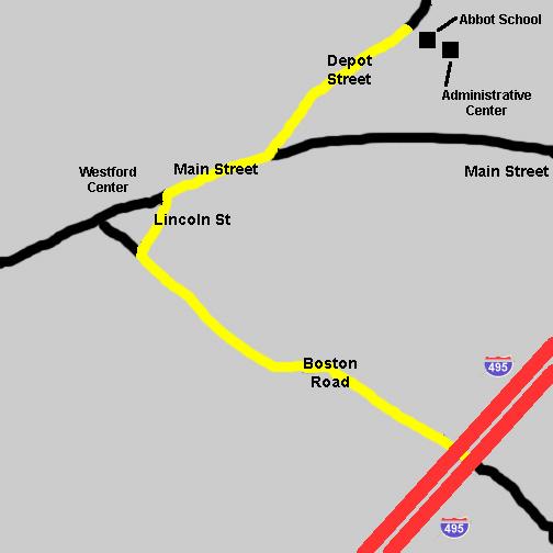 Map of roads around Abbot School